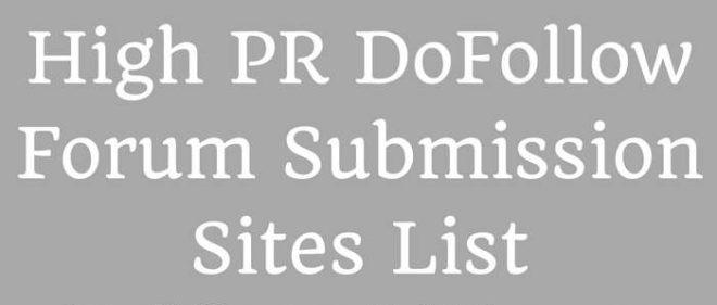 Forum Submission Sites list